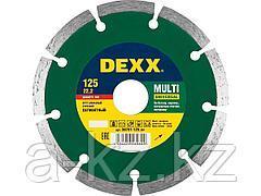Алмазный диск отрезной DEXX 36701-125_z01, универсальный, сегментный, для УШМ, 125 х 7 х 22,2 мм