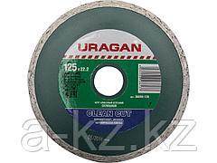Алмазный диск отрезной URAGAN 36695-125, сплошной, влажная резка, 22,2 х 125 мм