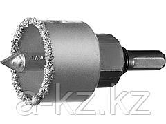 Буровая коронка-чашка с твердосплавным напылением ЗУБР 33360-038_z01, ПРОФЕССИОНАЛ, 38 мм, высота 25 мм, в сборе с державкой и сверлом