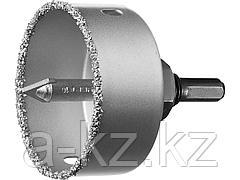 Буровая коронка-чашка с твердосплавным напылением ЗУБР 33360-064_z01, ПРОФЕССИОНАЛ, 64 мм, высота 25 мм, в сборе с державкой и сверлом