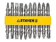 Набор бит для шуруповерта STAYER 2605-H10_z01, биты двухсторонние в пластиковом держателе, Cr-V, 10 предметов