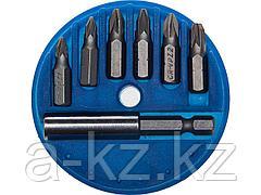 Набор бит для шуруповерта STAYER 26073-H7, биты с магнитным адаптером в круглом мини-боксе, 7 предметов