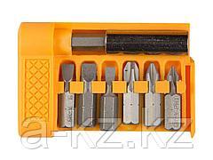 Набор бит для шуруповерта STAYER 26082-H7, биты с магнитным адаптером в плоском мини-боксе, 7 предметов