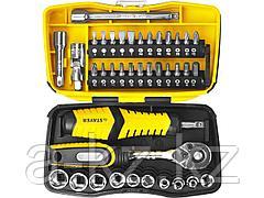 Набор инструментов торцевые головки и биты STAYER 25135-H39, PROFI, биты и торцовые головки с трещоткой и воротком, 39 предметов