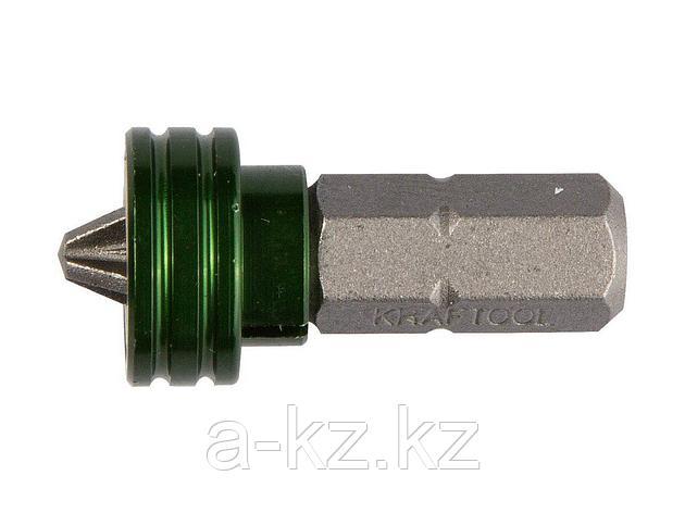 Бита для шуруповерта KRAFTOOL 26128-2-25-1, с магнитным держателем-ограничителем, тип хвостовика C 1/4, PH2, 25 мм, 1 шт., фото 2