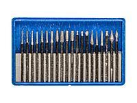Алмазные мини диски насадки для гравера ЗУБР 33383-H20, ЭКСПЕРТ, круги с алмазным напылением в пластиковом боксе, P 180, хвостовик d 3мм, 20 предметов