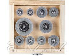 Алмазные мини диски насадки для гравера ЗУБР 33385-H10, ЭКСПЕРТ, круги с алмазным напылением на шпильке, пластик. бокс, d 16-40, P200, хвост. d 3мм,