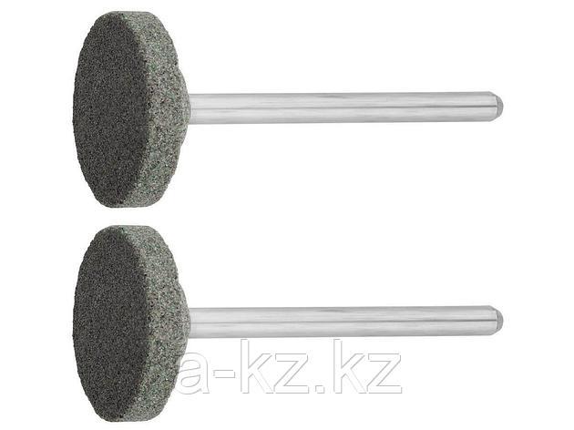 Круг ЗУБР абразивный шлифовальный из карбида кремния на шпильке, P 120, d 20x3,2мм, L 45мм, 2шт, 35916, фото 2