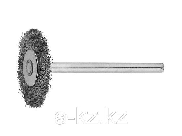 Щетка ЗУБР радиальная, нержавеющая сталь, на шпильке, d 20x 3,2мм, L 42мм, 1шт, 35931, фото 2