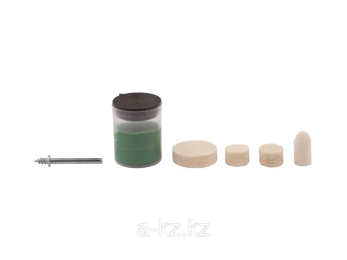 Мини-набор ЗУБР: Круг полир фетр 12,5x9,0мм 2шт,25х6,0,тверд фетр 10х19,0мм,оправка d3,2,L38мм,полир паста в пласт боксе, 35942-H6