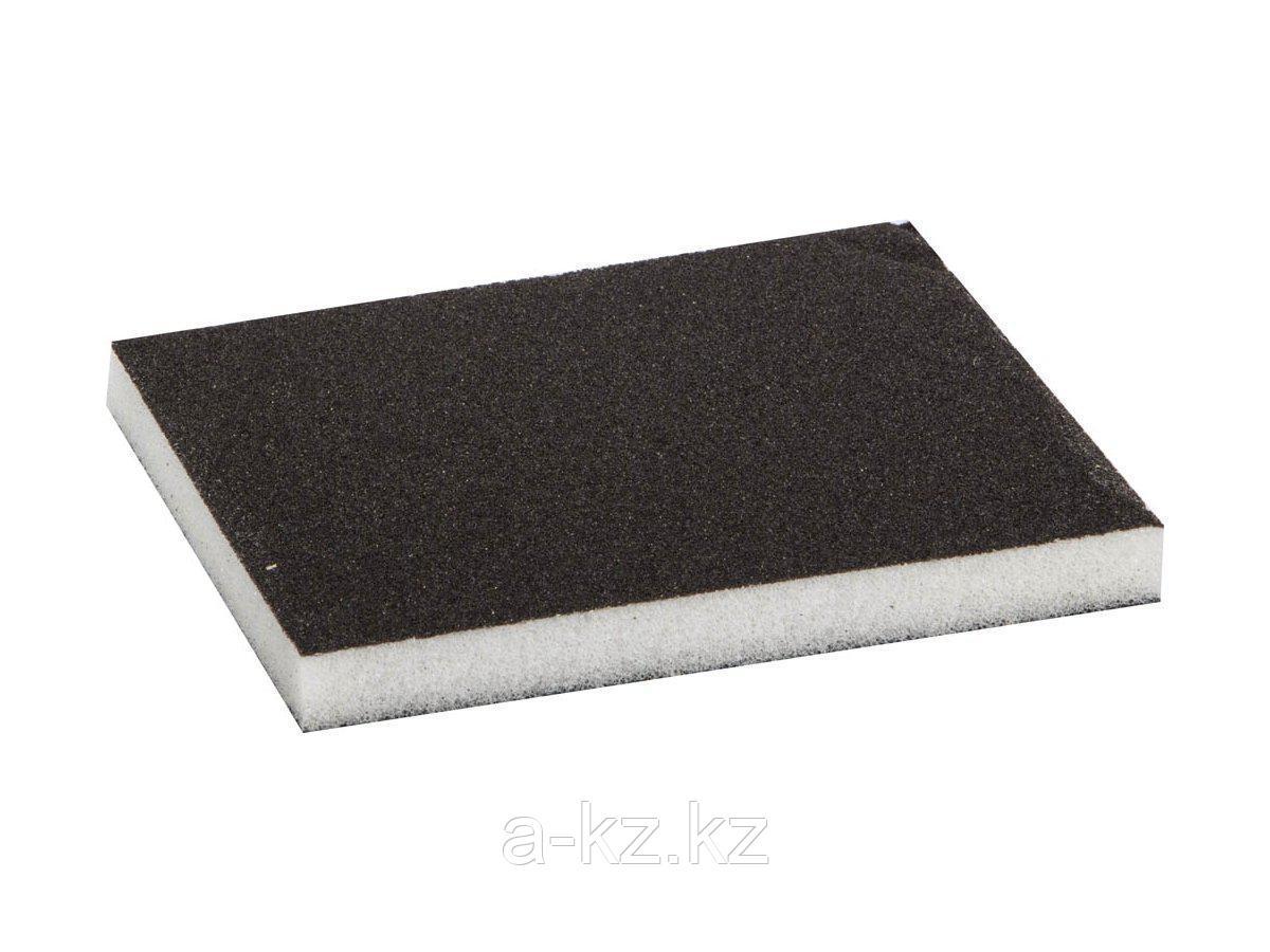 Губка абразивная шлифовальная ЗУБР 35614-120, МАСТЕР, двухсторонняя, мягкий поролон, Р120, 123 х 98 х 12 мм