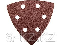 Треугольник шлифовальный ЗУБР 35583-080, МАСТЕР, универсальный на велкро основе, 6 отверстий, Р80, 93 х 93 х 93 мм, 5 шт