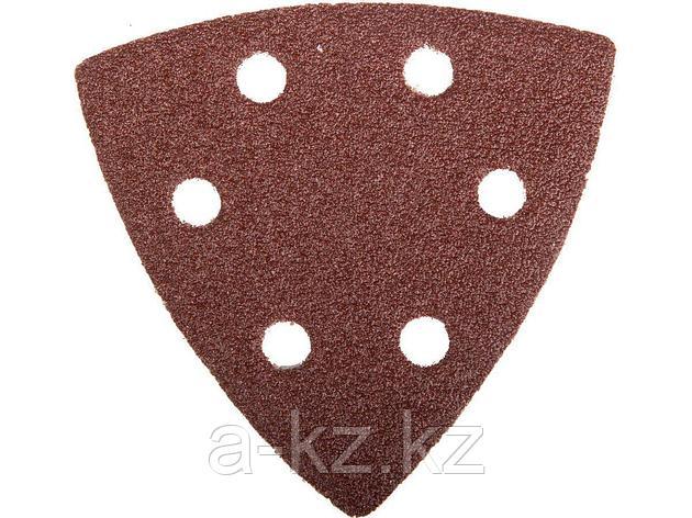 Треугольник шлифовальный ЗУБР 35583-080, МАСТЕР, универсальный на велкро основе, 6 отверстий, Р80, 93 х 93 х 93 мм, 5 шт, фото 2