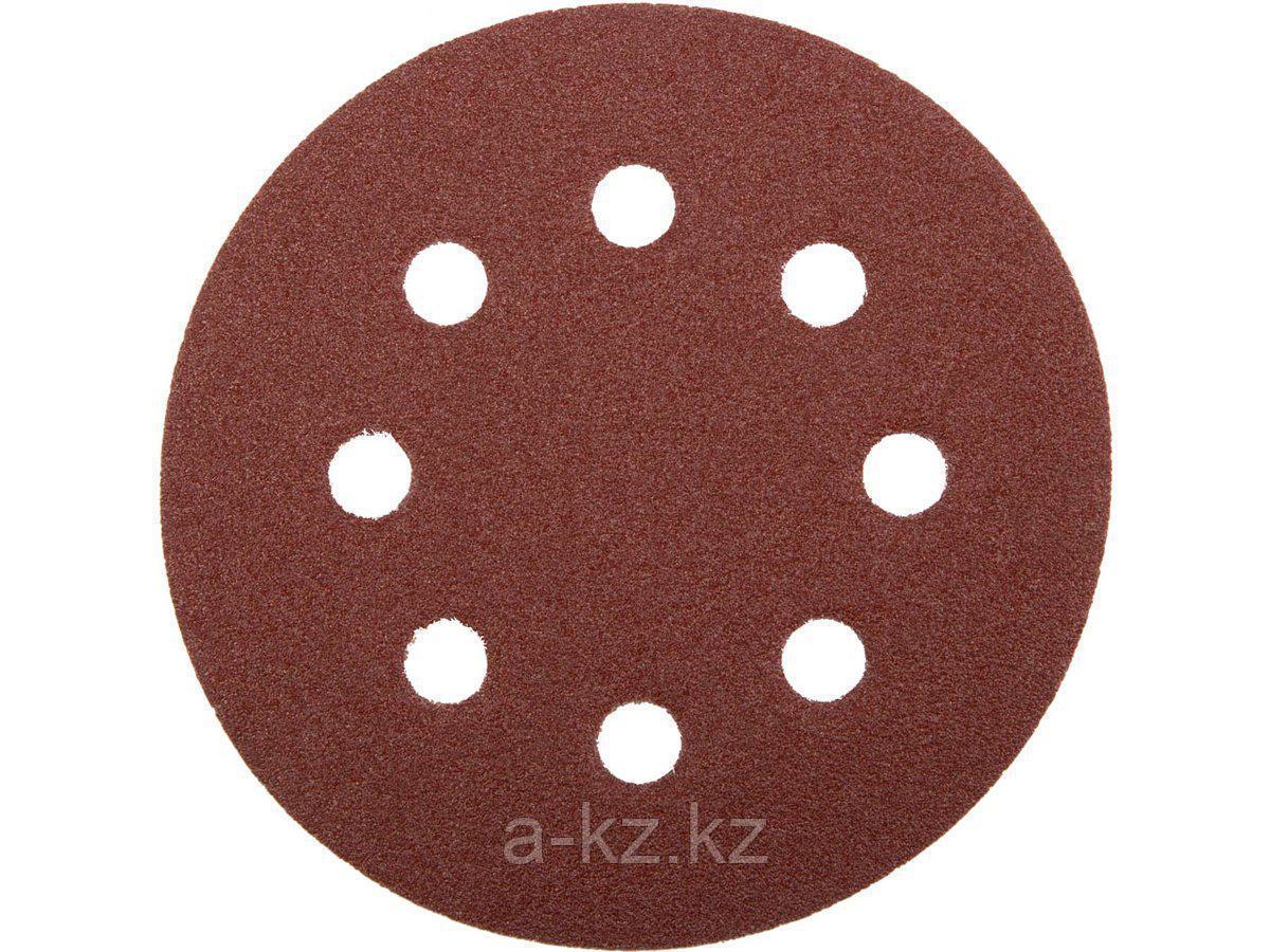 Круг шлифовальный на липучке ЗУБР 35560-115-080, МАСТЕР, универсальный, из абразивной бумаги на велкро основе, 8 отверстий, Р80, 115 мм, 5 шт.