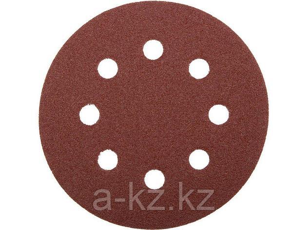 Круг шлифовальный на липучке ЗУБР 35560-115-080, МАСТЕР, универсальный, из абразивной бумаги на велкро основе, 8 отверстий, Р80, 115 мм, 5 шт., фото 2
