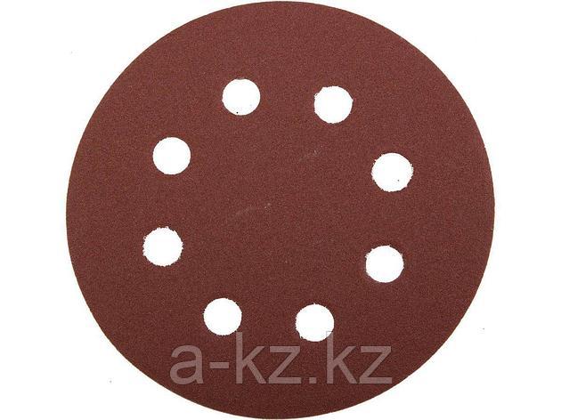 Круг шлифовальный на липучке ЗУБР 35560-115-120, МАСТЕР, универсальный, из абразивной бумаги на велкро основе, 8 отверстий, Р120, 115 мм, 5 шт., фото 2