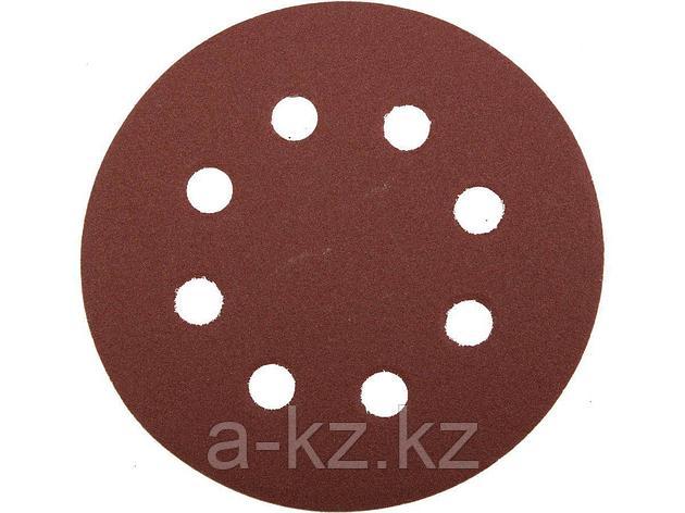 Круг шлифовальный на липучке ЗУБР 35560-115-180, МАСТЕР, универсальный, из абразивной бумаги на велкро основе, 8 отверстий, Р180, 115 мм, 5 шт., фото 2