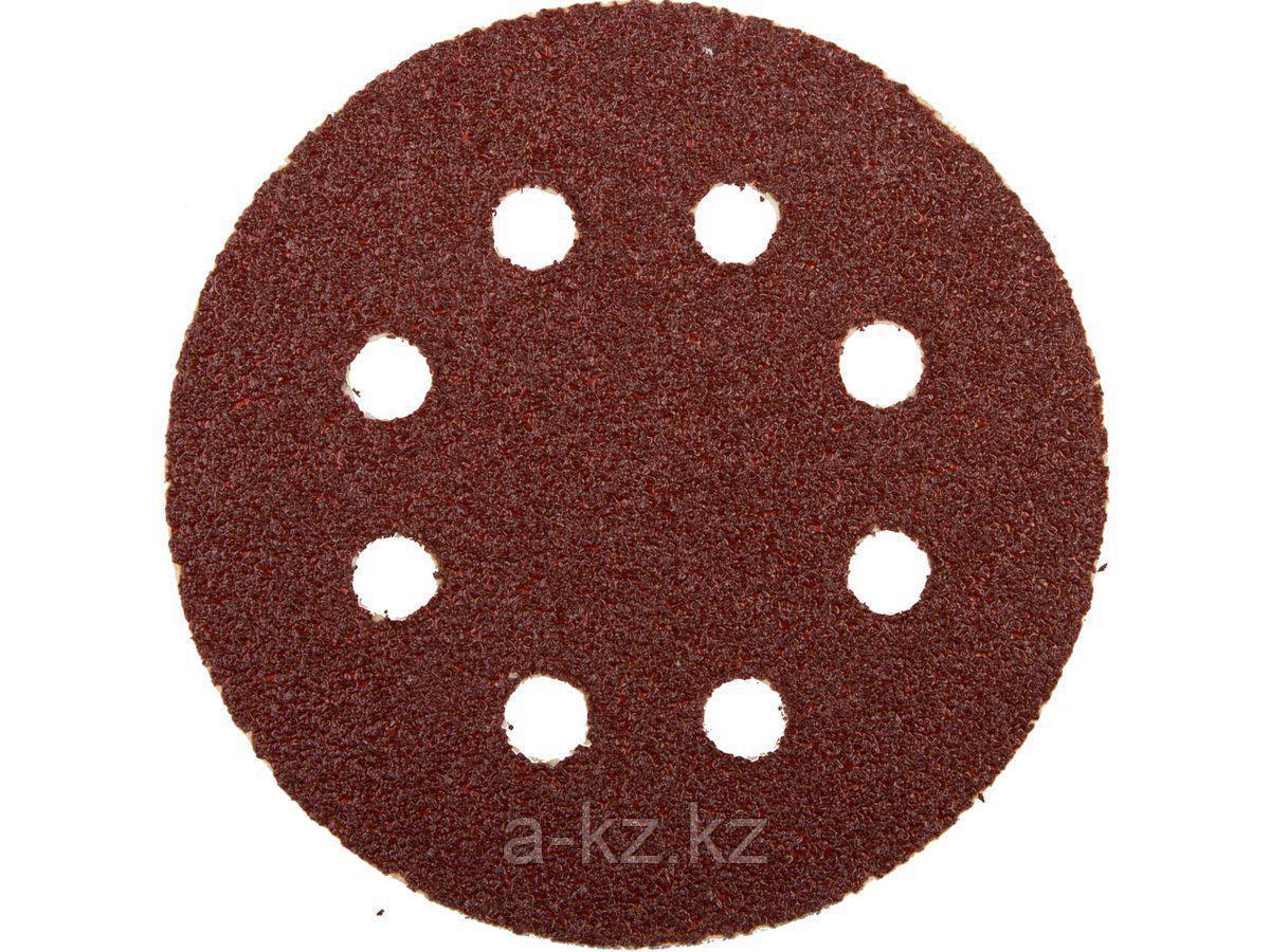Круг шлифовальный на липучке ЗУБР 35562-125-040, МАСТЕР, универсальный, из абразивной бумаги на велкро основе, 8 отверстий, Р40, 125 мм, 5 шт.
