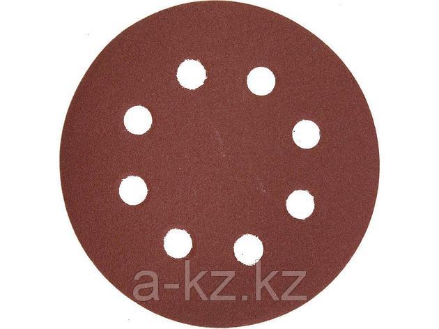 Круг шлифовальный на липучке ЗУБР 35562-125-180, МАСТЕР, универсальный, из абразивной бумаги на велкро основе, 8 отверстий, Р180, 125 мм, 5 шт., фото 2