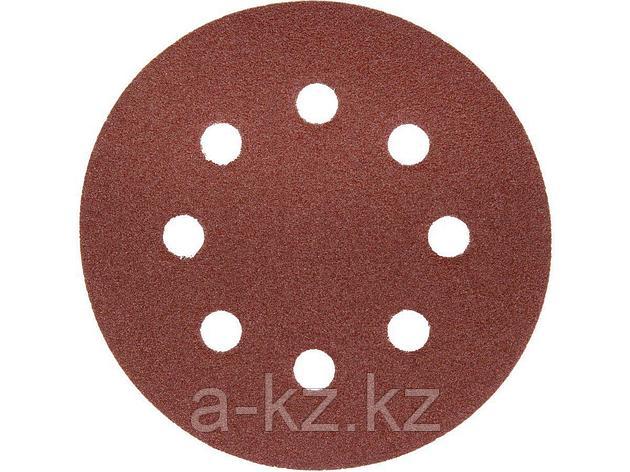 Круг шлифовальный на липучке ЗУБР 35562-125-080, МАСТЕР, универсальный, из абразивной бумаги на велкро основе, 8 отверстий, Р80, 125 мм, 5 шт., фото 2