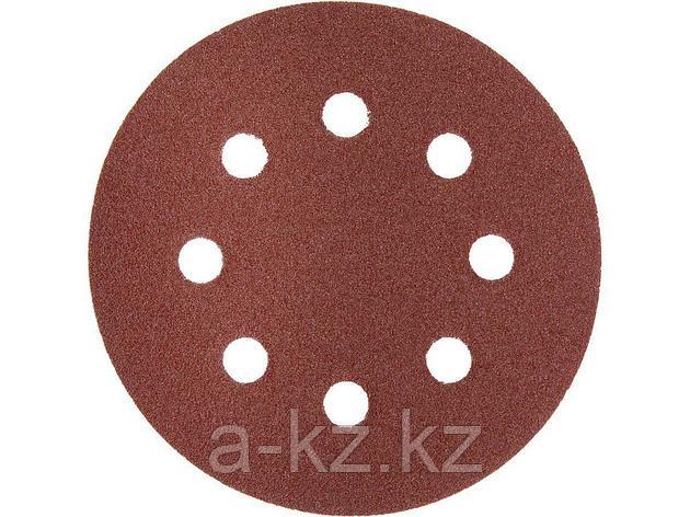 Круг шлифовальный на липучке ЗУБР 35562-125-100, МАСТЕР, универсальный, из абразивной бумаги на велкро основе, 8 отверстий, Р100, 125 мм, 5 шт., фото 2
