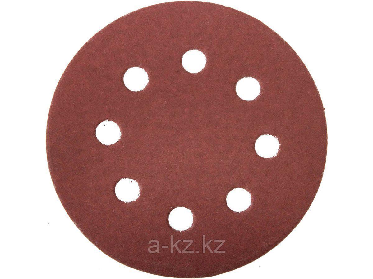 Круг шлифовальный на липучке ЗУБР 35562-125-600, МАСТЕР, универсальный, из абразивной бумаги на велкро основе, 8 отверстий, Р600, 125 мм, 5 шт.