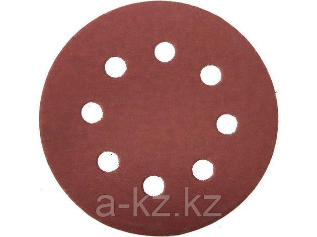 Круг шлифовальный на липучке ЗУБР 35562-125-600, МАСТЕР, универсальный, из абразивной бумаги на велкро основе, 8 отверстий, Р600, 125 мм, 5 шт., фото 2