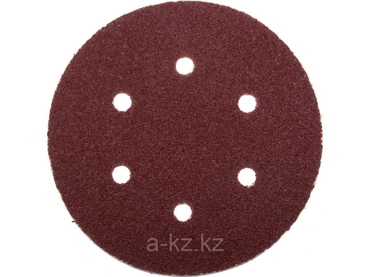 Круг шлифовальный на липучке ЗУБР 35566-150-060, МАСТЕР, универсальный, из абразивной бумаги на велкро основе, 6 отверстий, Р60, 150 мм, 5 шт.