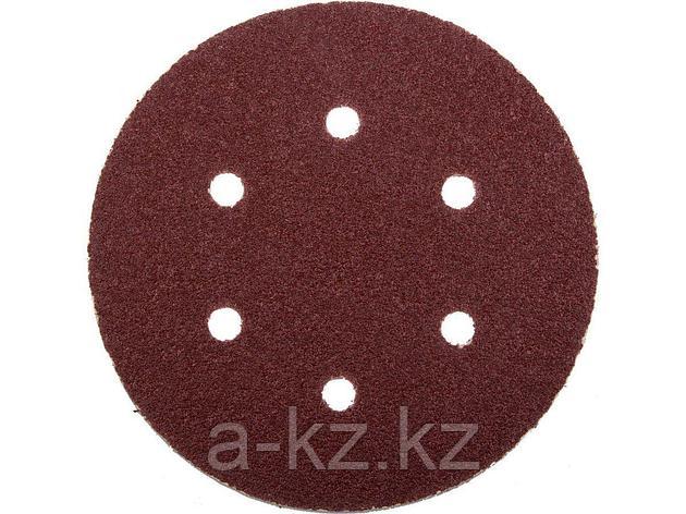 Круг шлифовальный на липучке ЗУБР 35566-150-060, МАСТЕР, универсальный, из абразивной бумаги на велкро основе, 6 отверстий, Р60, 150 мм, 5 шт., фото 2