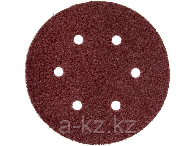 Круг шлифовальный на липучке ЗУБР 35566-150-080, МАСТЕР, универсальный, из абразивной бумаги на велкро основе, 6 отверстий, Р80, 150 мм, 5 шт., фото 2