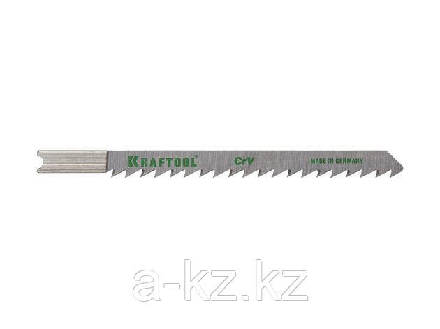 Пилки для электролобзика KRAFTOOL 159611-4, Cr-V, по дереву, ДСП, ДВП, чистый рез, US-хвостик, шаг 4 мм, 75 мм, 2 шт, фото 2