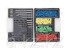 Набор DEXX: Сверла комбинированные, по металлу 7шт, по дереву 5шт, по кирпичу 5шт, биты 6шт, дюбели 277шт, 2970-H300