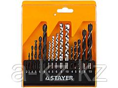 Набор STAYER STANDARD: Сверла комбинированные, дерево (4-5-6-8-10мм), металл (2-3-4-6-8мм), бетон (4-5-6-8-10мм), 16 предметов, 29720-H16