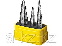 Ступенчатое сверло по металлу набор STAYER 29660-3-20-H3, MASTER, 5 ступенчатое: d 4 - 12 мм; 12 ступенчатое: d 3 - 14 мм, 14 ступенчатое: d 6 - 20 мм