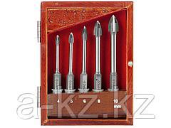 Набор сверла по кафелю и стеклу ЗУБР 29845-H5, ЭКСПЕРТ, с четырьмя режущими лезвиями d = 4, 5, 6, 8, 10 мм, 5 шт.