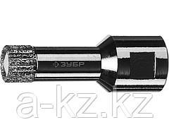 Алмазная коронка для УШМ ЗУБР 29865-14, ПРОФИ, сухое сверление, алмазы на вакуумной пайке, посадка М14, d=14 мм