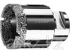 Алмазная коронка для УШМ ЗУБР 29865-44, ПРОФИ, сухое сверление, алмазы на вакуумной пайке, посадка М14, d=44 мм