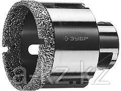 Алмазная коронка для УШМ ЗУБР 29865-54, ПРОФИ, сухое сверление, алмазы на вакуумной пайке, посадка М14, d=54 мм