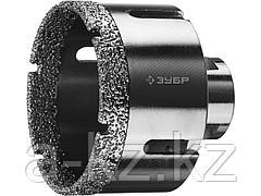 Алмазная коронка для УШМ ЗУБР 29865-68, ПРОФИ, сухое сверление, алмазы на вакуумной пайке, посадка М14, d=68 мм