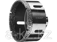 Алмазная коронка для УШМ ЗУБР 29865-83, ПРОФИ, сухое сверление, алмазы на вакуумной пайке, посадка М14, d=83 мм