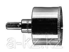 Алмазная буровая коронка ЗУБР 29850-53, ЭКСПЕРТ, в сборе, с центрирующим сверлом и имбусовым ключом, зерно P60, 53 мм