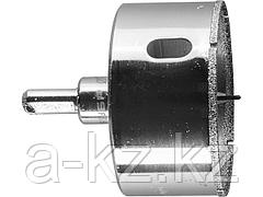 Алмазная буровая коронка ЗУБР 29850-60, ЭКСПЕРТ, в сборе, с центрирующим сверлом и имбусовым ключом, зерно P60, 60 мм