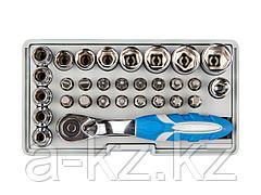 Набор бит для шуруповерта ЗУБР 26054-H31, биты 16 шт., торцовые головки с мини трещоткой 12 шт., адаптер для бит SQ 1/4 х Hex 1/4, удлинитель 1/4/80