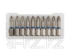 Биты для шуруповерта ЗУБР 26011-1-25-10, торсионная  кованая, обточенная, хромомолибденовая сталь, тип хвостовика C 1/4, PH1, 25 мм, 10 шт.