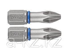 Биты для шуруповерта ЗУБР 26013-2-25-2, торсионная кованая, обточенная, хромомолибденовая сталь, тип хвостовика C 1/4, PZ2, 25 мм, 2 шт.