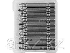 Биты для шуруповерта ЗУБР 26001-2-50-10, кованая, хромомолибденовая сталь, тип хвостовика E 1/4, PH2, 50 мм, 10 шт.