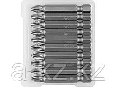 Биты для шуруповерта ЗУБР 26003-2-50-10, кованая, хромомолибденовая сталь, тип хвостовика E 1/4, PZ2, 50 мм, 10 шт.