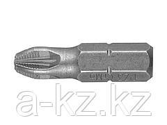 Биты для шуруповерта ЗУБР 26003-3-25-2, кованая, хромомолибденовая сталь, тип хвостовика C 1/4, PZ3, 25 мм, 2 шт.