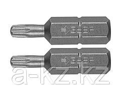 Биты для шуруповерта ЗУБР 26005-10/15-25-2, кованая, хромомолибденовая сталь, тип хвостовика C 1/4, T10 - 1 шт., Т15 - 1 шт., 25 мм, 2 шт.