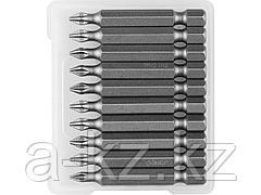 Биты для шуруповерта ЗУБР26001-1-50-10, кованая, хромомолибденовая сталь, тип хвостовика E 1/4, PH1, 50 мм, 10 шт.